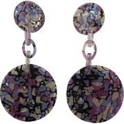 Pair Of French Designed Lucite Clip Drop Earrings
