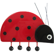 Cute Ladybug Pin By French Designer Made of Galalith