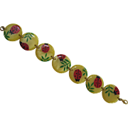 French Designed Galalith Hand Painted Ladybug Bracelet