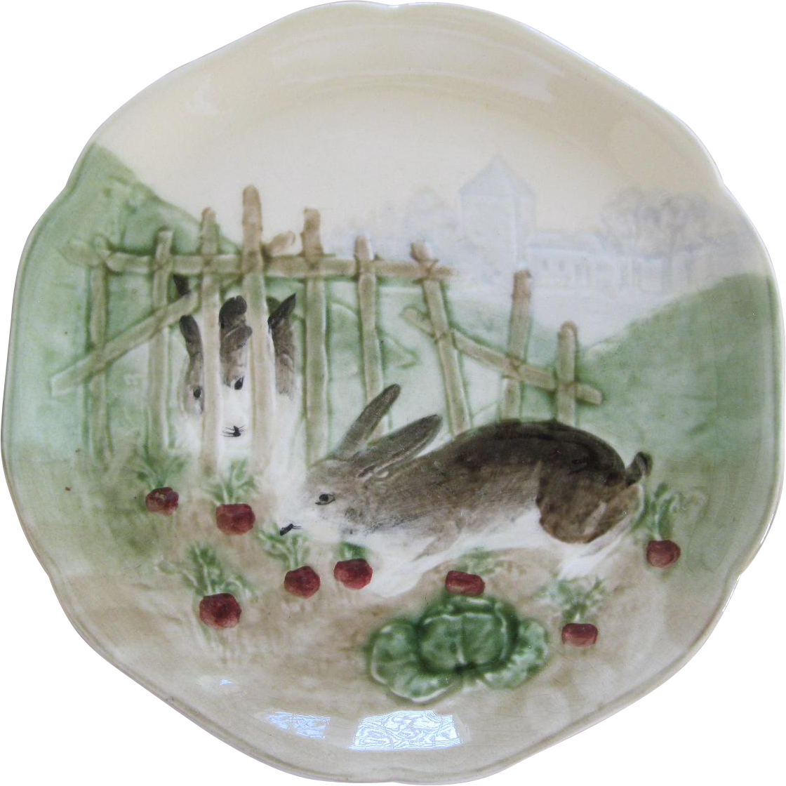 French Majolica Bunny Rabbit Plate by The choisey Le Roi Co.
