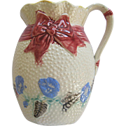 English Majolica Ribbon And Morning Glory Pitcher By Fielding