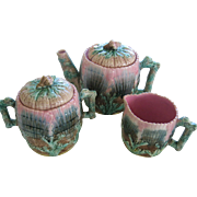 Etruscan Majolica Shell & Seaweed 3 Piece Teaset Pitcher Sugar And Creamer Mint!!