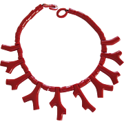 French Designed  Red Coral Branch Resin Necklace