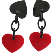 Pair Of French Designed Dangling Red Heart Clip Earrings
