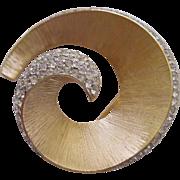 Vintage Trifari Crystal Rhinestone Swirl Pin