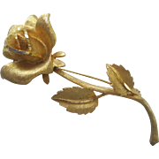Large Vintage Rose Brooch Pin By BSK