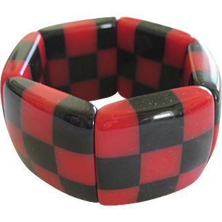 French Designed Resin Stretch Checkered Bracelet