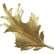 Large Lovely Vintage BKS Golden Leaf Pin In Pristine Condition