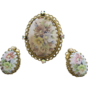 Stunning W Germany Brooch & Clip Earrings Painted With Soft Pastel Flowers And AB Stones