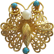 Cute Vintage 1950's Gokd Wash Butterfly Pin With Faux pearl And Torquoise