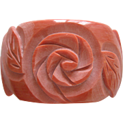 Vintage Pink French Galalith Carved Bangle Bracelet