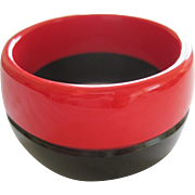 French Designed Red & Black Bangle Bracelet