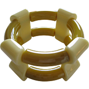 French 1940's Hard Plastic Resin Stretch Bracelet
