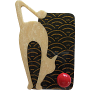 Deco Style Cat With 3-D Ball Pin By French Designer Lea Stein