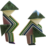 Pair Of China Men Pins By French Designer Lea Stein
