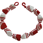 French Designed Red And White Resin Chunky Necklace