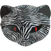Bacchus The Cat Head Pin By French Designer Lea Stein