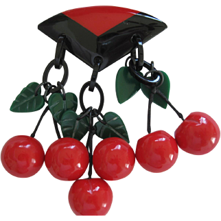 Deco Style French Resin Dangling Cherry Pin