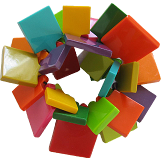 Funky French Designed Resin Multi Colored Squares Shaped Bracelet