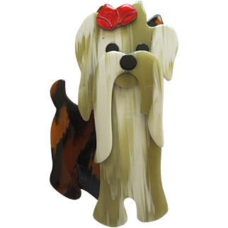 Moustache The Dog Pin By French Designer Lea Stein
