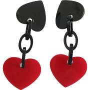 French Designed Resin Red Heart Clip Earrings