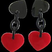 French Designed Resin Red Heart Clip Earrings