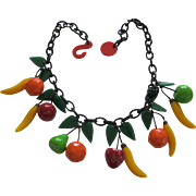 French Designed Resin Dangling Fruit Necklace