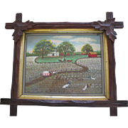 Original Folk Art Painting On Board Of Southen Plantation Harvesting Cotton