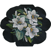 Lovely Victorian Lily Flowers Bead Work On Needlepoint