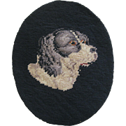 Small Victorian Needle Point Of a Dog Head