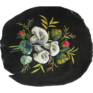Victorian Plushwork Of Calla Lilies On Velvet