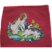 Victorian Plushwork On Needlepoint Pillow Cover With 2 Dogs With Glass Eyes
