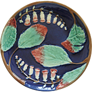 Antiques Majolica Cobalt Blue Bellflowers Plate