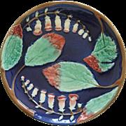 Antiques Majolica Cobalt Blue Bellflowers Plate