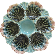Antiques French Majolica Oyster Plate By The Longchamp Co.
