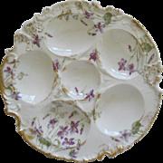 Antique Haviland Limoges Oyster Plate With Violets