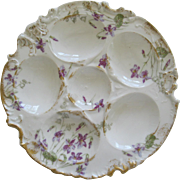 Antique Haviland Limoges Oyster Plate With Violets