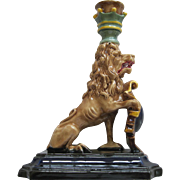 Antique German Majolica Figural Chamberstick With Lion And Shield