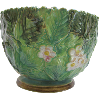 Antique English Majolica Open Sugar Bowl By The George Jones Co.
