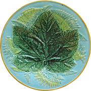 English Majolica Fern And Leaf Plate By The George Jones Co.
