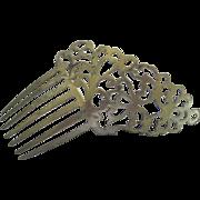Pretty Victorian Silver Hair Comb