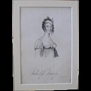 Georgian Period Pencil & Ink Miniature Portrait By Robert Samuel Ennis Gallon Of Fatherless Fannie London England