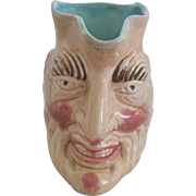 French Majolica Figural Character Or Face Jug