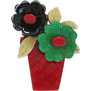 Flower Pot Pin By French Designer Lea Stein