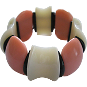 French 1940's Hard Plastic Resin Stretch Bracelet In Black, Pink And Cream