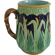 English George Jones Majolica Wheat Pitcher
