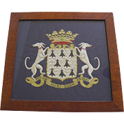 Lovely Vintage Needlework Of Family Crest Of Dogs And Crown Rather Die Than Be Dishonored