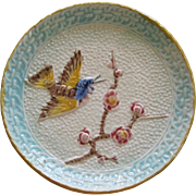 Hummingbird And Prunis Majolica Plate By The Eureka Pottery Co. Trenton New Jersey