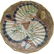 Majolica Fan Bug And butterfly Plate