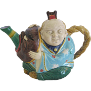 English Minton Majolica China Man Teapot